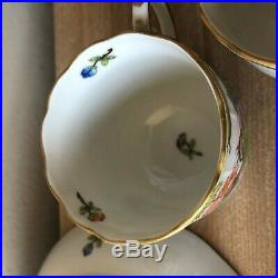 Lovely Set of 6 Herend Queen Victoria Mocha Cups & Saucers