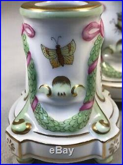 PV03939 Vintage Herend #7905 / VBO QUEEN VICTORIA GREEN 3 Candle Holder Pair