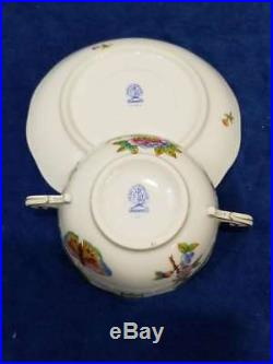 Pair Herend Queen Victoria (green Border) Cream Soup Bowl & Saucer Sets, #3