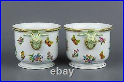 Pair of Herend Queen Victoria Large Cachepots with Ram Heads #7283/VBO