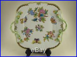 QUEEN VICTORIA (VBO) by HEREND Square Handled Cake Plate 1430
