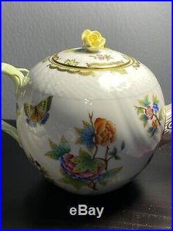 RARE Herend Queen Victoria butterfly TeaPot withFlower Knob cream & sugar