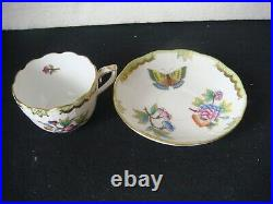 RRR RARE HEREND PORCELAIN HAND PAINTED QUEEN VICTORIA MOCHA FOR 1 PERSONS 5pcs