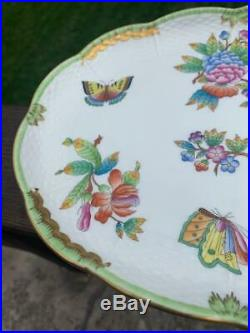 Rare #415 FOOTED Dresser Tea Dessert Serving Tray c1976 Herend Queen Victoria