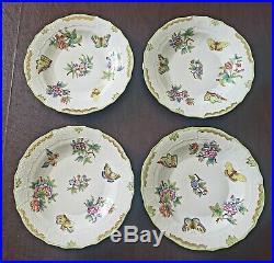 Set of 4 Herend Queen Victoria Large Dessert/Salad Plates 1520/VBO MINT