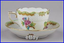 Set of Six Herend Queen Victoria Coffee Mocha Cups with Saucers #711/VBO II