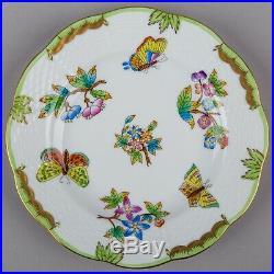 Set of Six Herend Queen Victoria Dessert Plates, #516/VBO