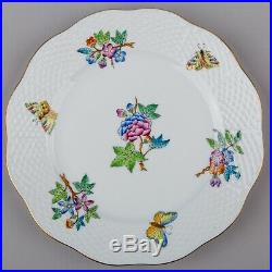 Set of Six Herend Queen Victoria Large Dessert Plates, 6 Pieces, #519/VA