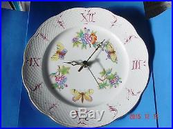 VINTAGE Porcelain WALL CLOCK by Herend Hungary Queen Victoria Hand Painted
