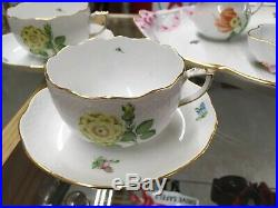 Vintage 1970s Herend Hungary Victoria Tea Set For Two With Cachepot Handpainted