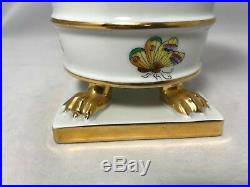 Vintage Herend Queen Victoria Green Trim Gold Claw Footed Cache Pot Mantle Vase