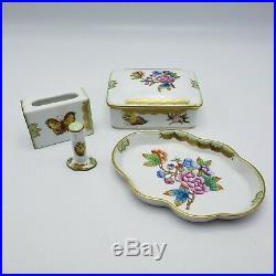Vintage Herend Queen Victoria Pattern V30 Four Piece Smoking Set