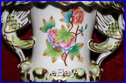 Vintage Herend Queen Victoria Swan Style Porcelain Baroque Vase White & Green