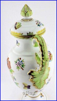 XXL Herend Queen Victoria Amphore Deckel Vase 6490 Green Border Grün 50 cm